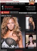 Beyoncé ganadora en La mujer más deseada del 2007, AskMen