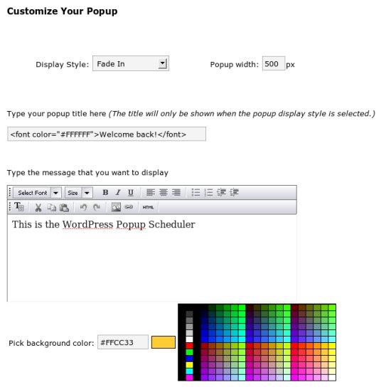WordPress Popup Scheduler Admin 2